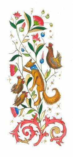 Gravure fables de La Fontaine : Le corbeau et le renard.