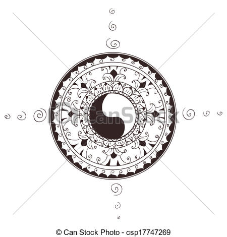 Clip Art Vector of Symbol of esoteric religion.Yin.