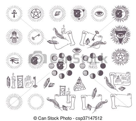 Vector Clip Art of Astrology esoteric vector icons..
