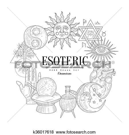 Clip Art of Esoteric Collection Vintage Sketch k36017618.