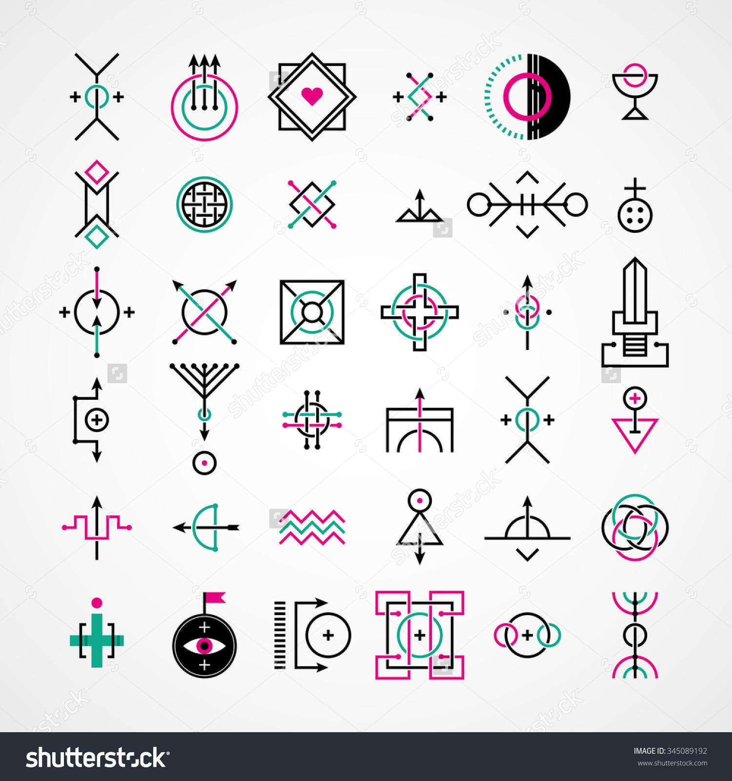 Set Of Decorative Esoteric Elements. Stock Vector Illustration.