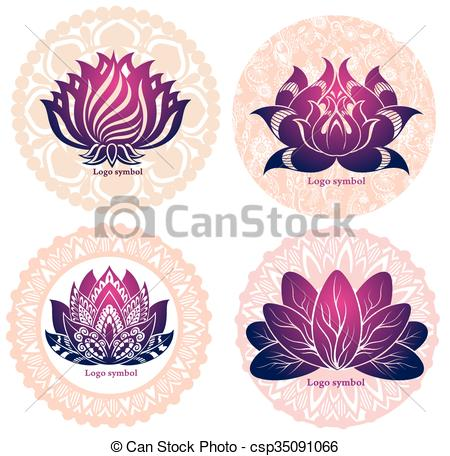 Clip Art Vector of Set of lotuses and esoteric symbols.
