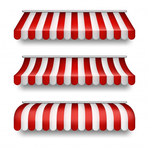 realistic set of striped awnings isolated on background.