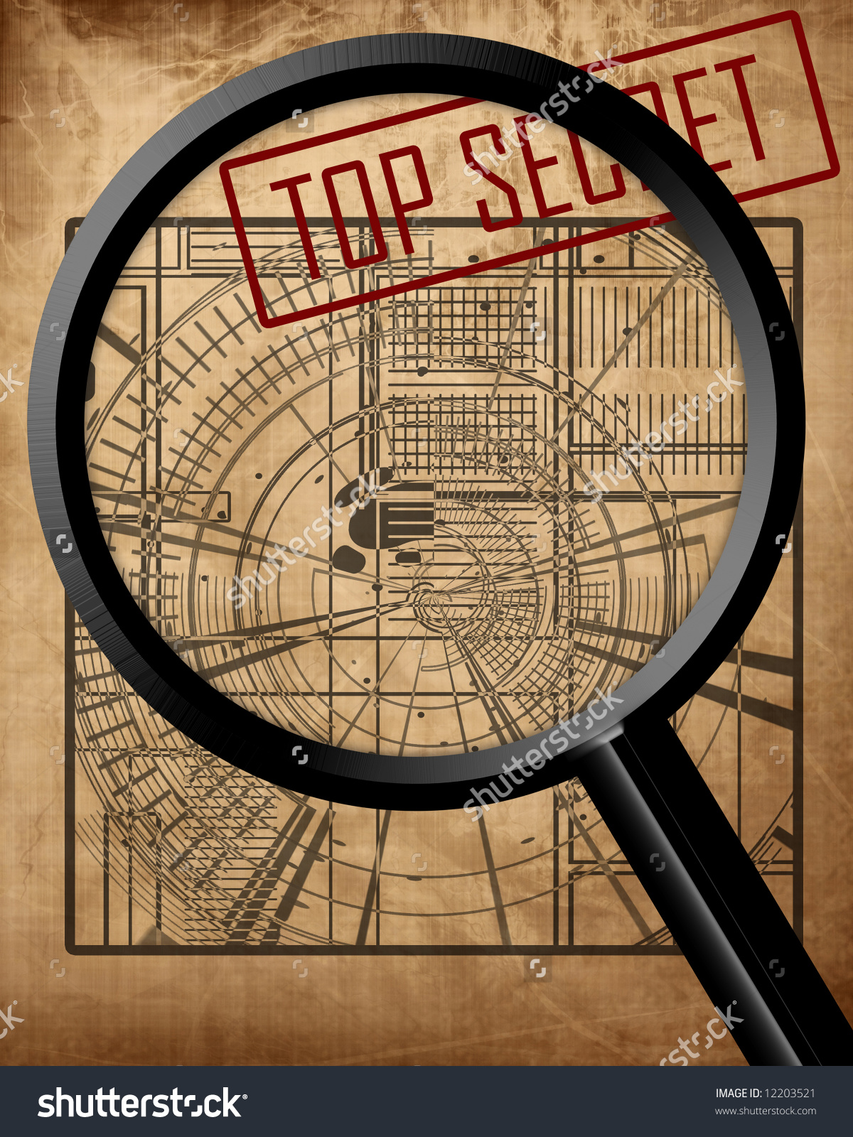 Old Top Secret Blueprint: Espionage Stock Photo 12203521.