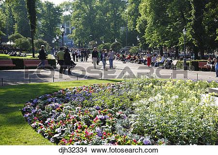 Stock Photo of Finland, Helsinki, Helsingfors, Esplanadi Park.