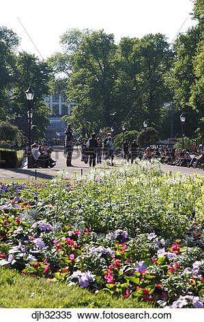 Stock Image of Finland, Helsinki, Helsingfors, Esplanadi Park.