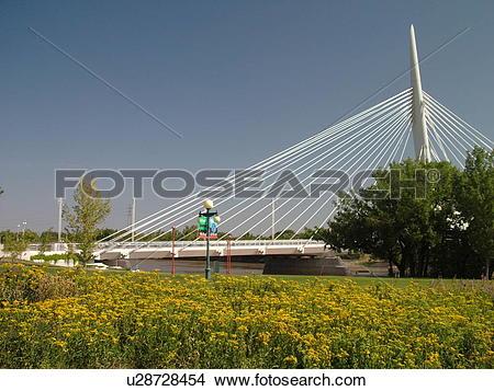 Stock Photo of Winnipeg, Canada, MB, Manitoba, Provencher Bridge.