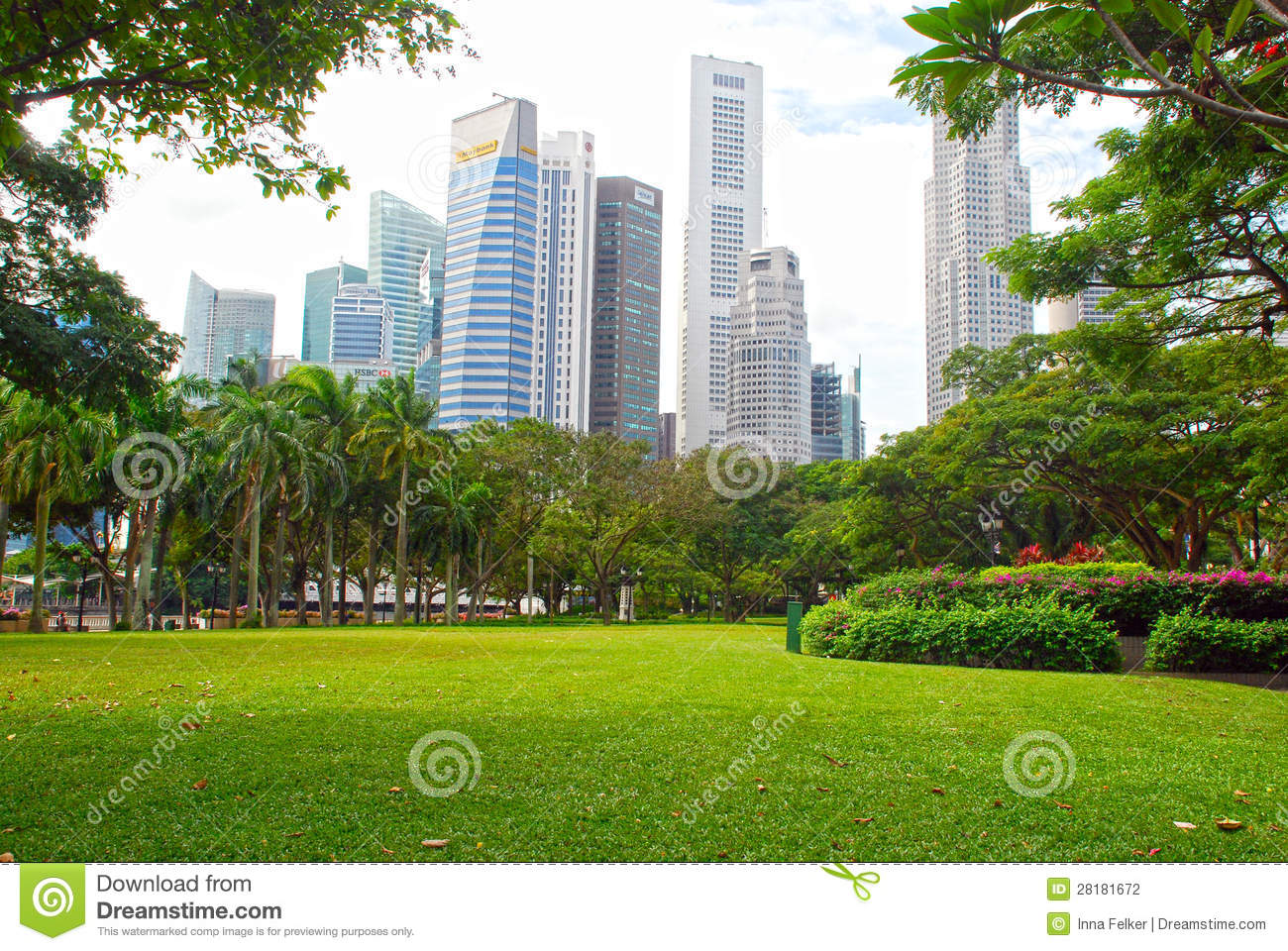 Singapore Central Business District And Esplanade Park Editorial.