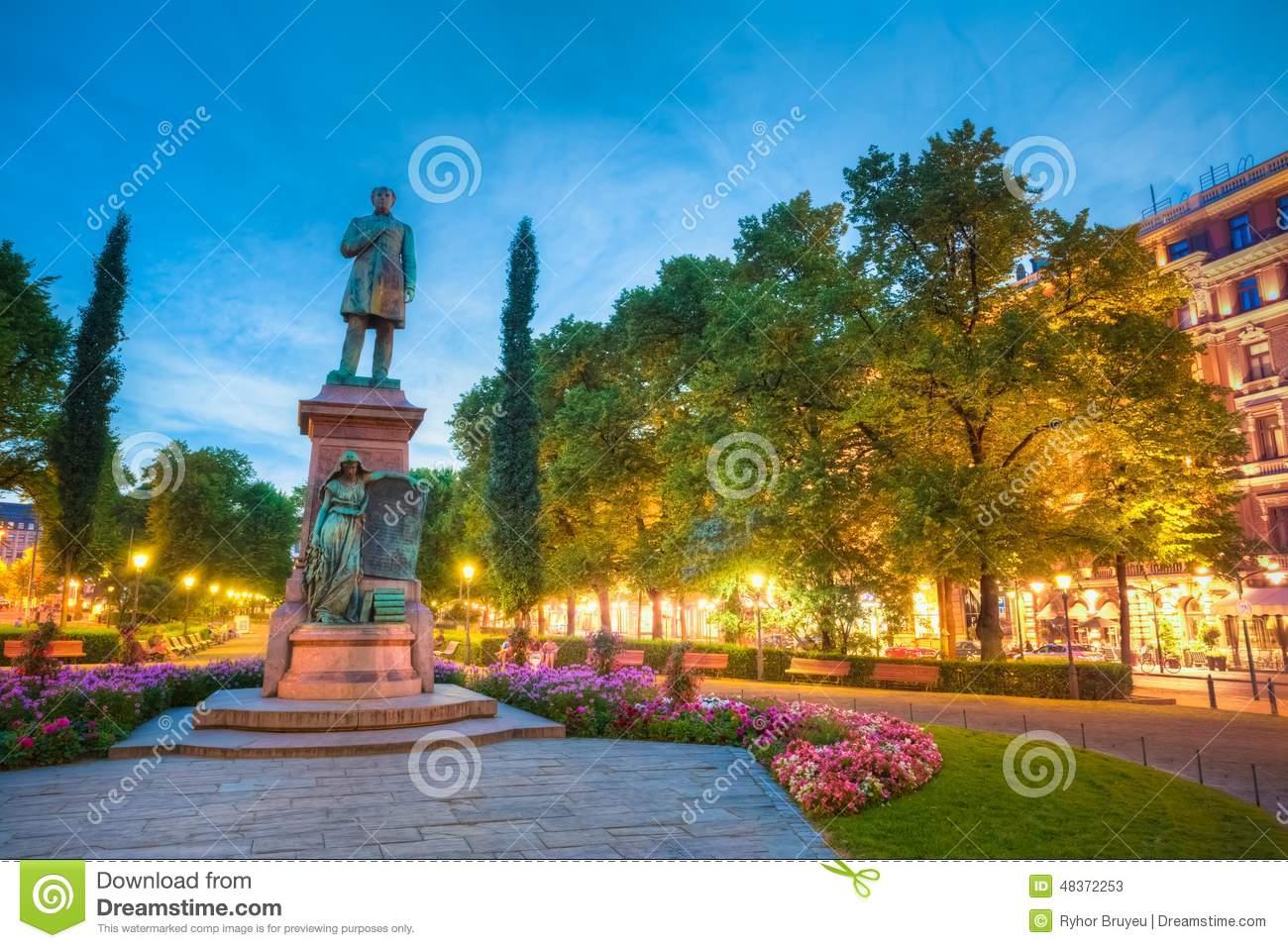 Esplanade Park. Statue Of Johan Ludvig Runeberg In Stock Photo.