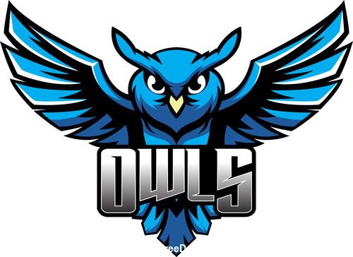 owls mascot esports logo vector free download.