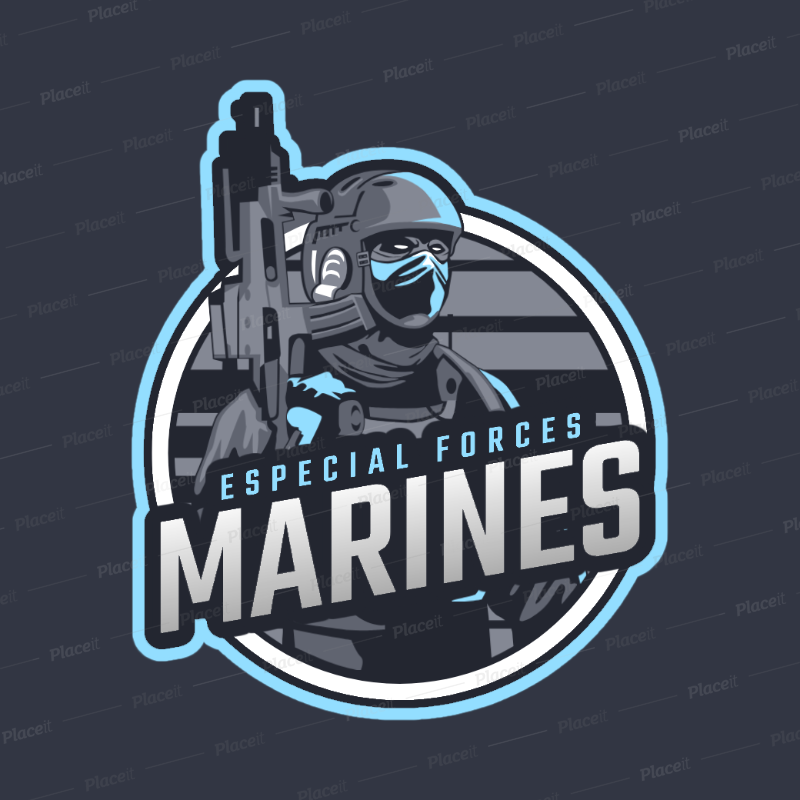 eSports Logo Maker for a Shooter Game with a Marine Clipart 1743d.