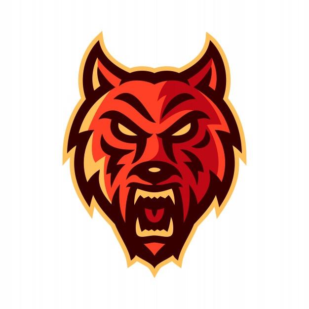 Wolf esport logo mascot Vector.
