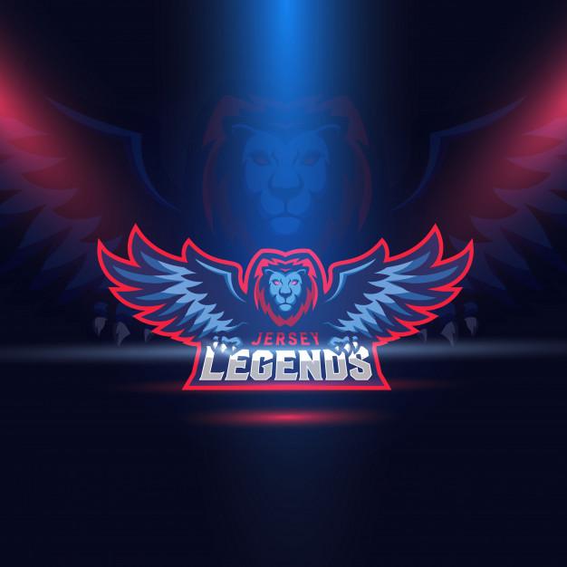 Lion eagle wings esport logo template Vector.