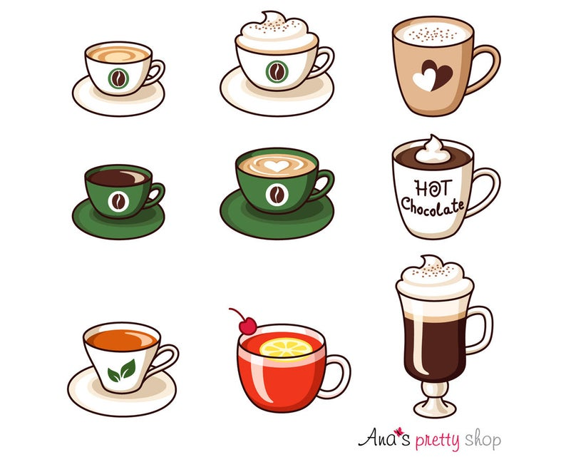 Hot drinks clipart, cups clipart, espresso, american coffee, cappuccino,  latte, hot chocolate, hot milk, tea, irish coffee, punch cocktail.