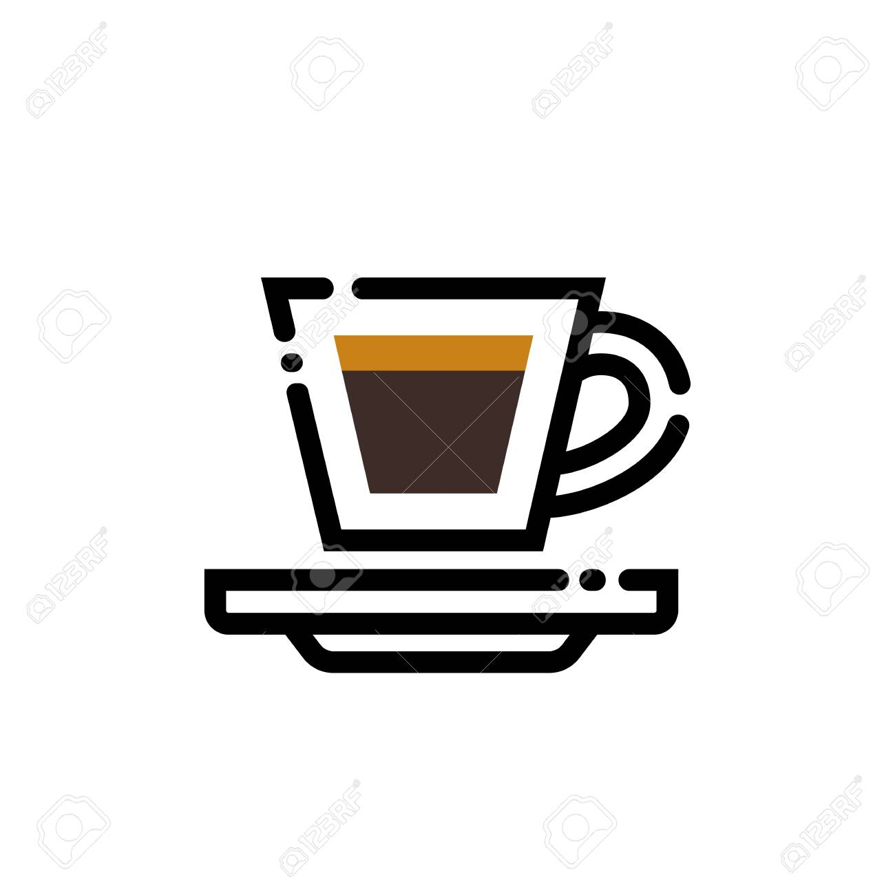 Coffee espresso cup line art illustration. Line icon.