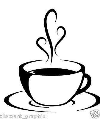 Coffee cup swirls decal sticker kitchen beans cafe wall art espresso.