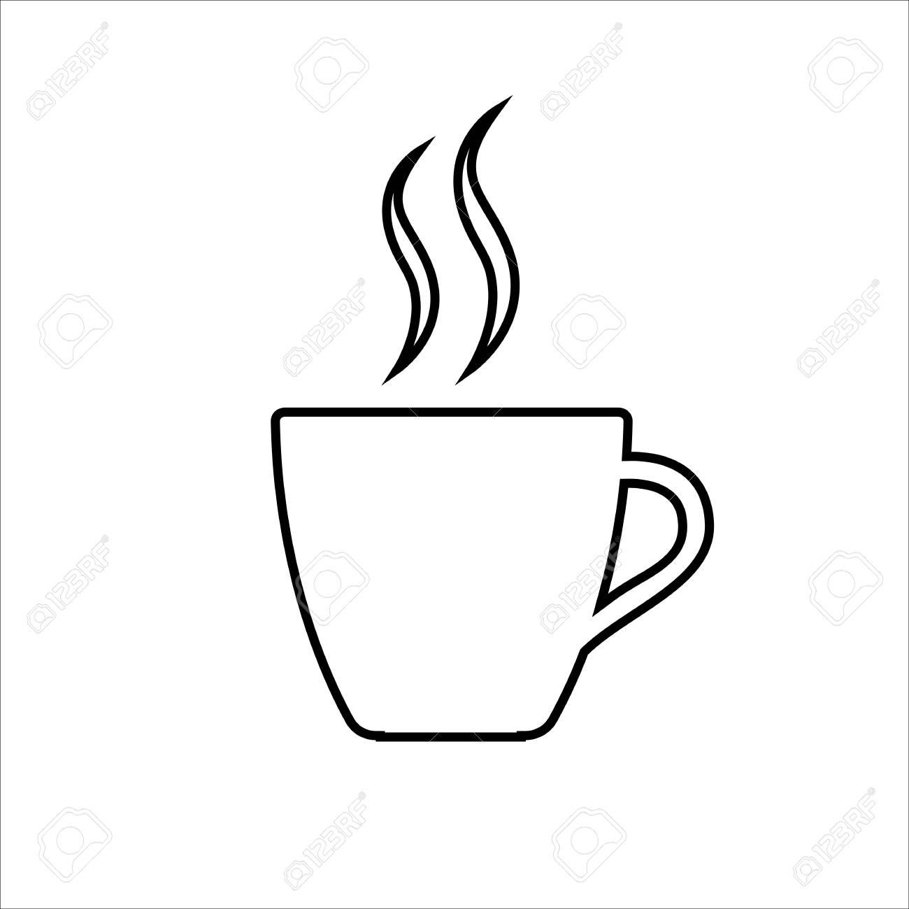 Espresso line icon Strong coffee in espresso cup and smoke Vector...