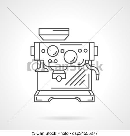Vectors Illustration of Espresso machine flat line vector icon.