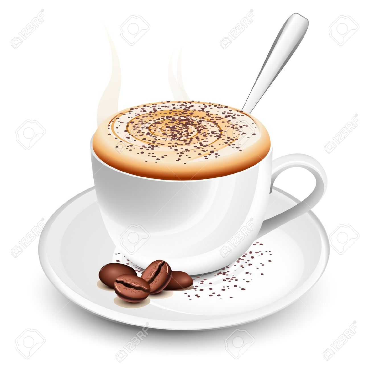Cup Of Hot Coffee With Foam And Spoon Royalty Free Cliparts.