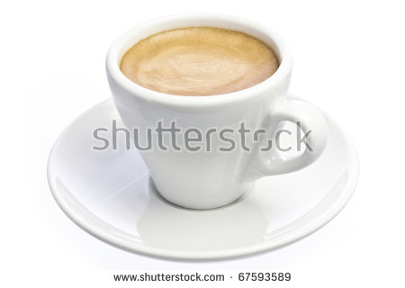 A Cup Of Espresso Coffee With Foam Isolated Over White Stock Photo.