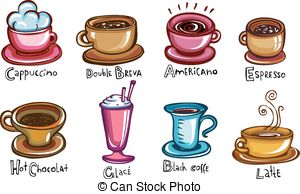 Clip Art Vector of Coffee cups different cafe drinks types.