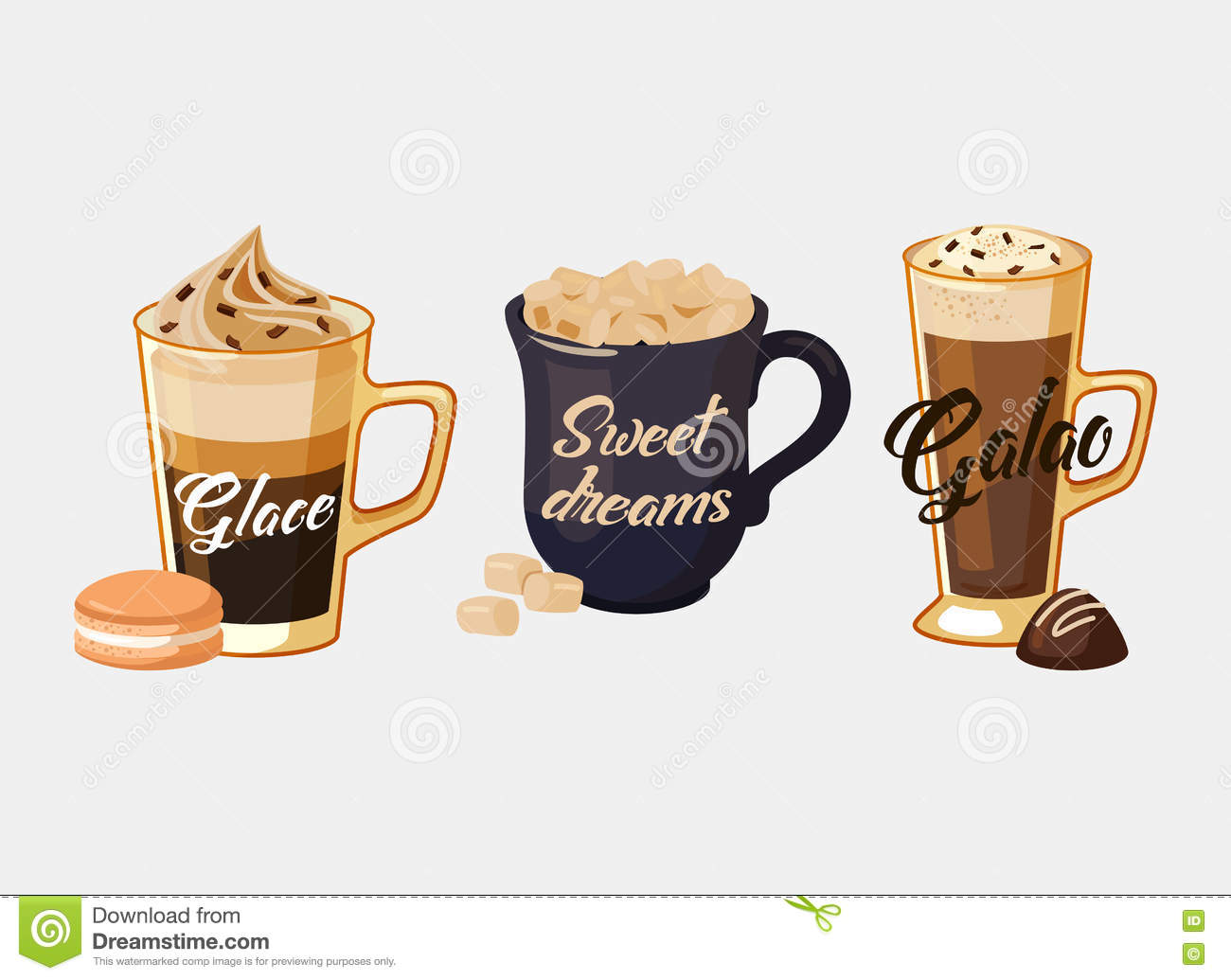 Glace Coffee And Portugal Galao, Cup With Sugar Stock Vector.