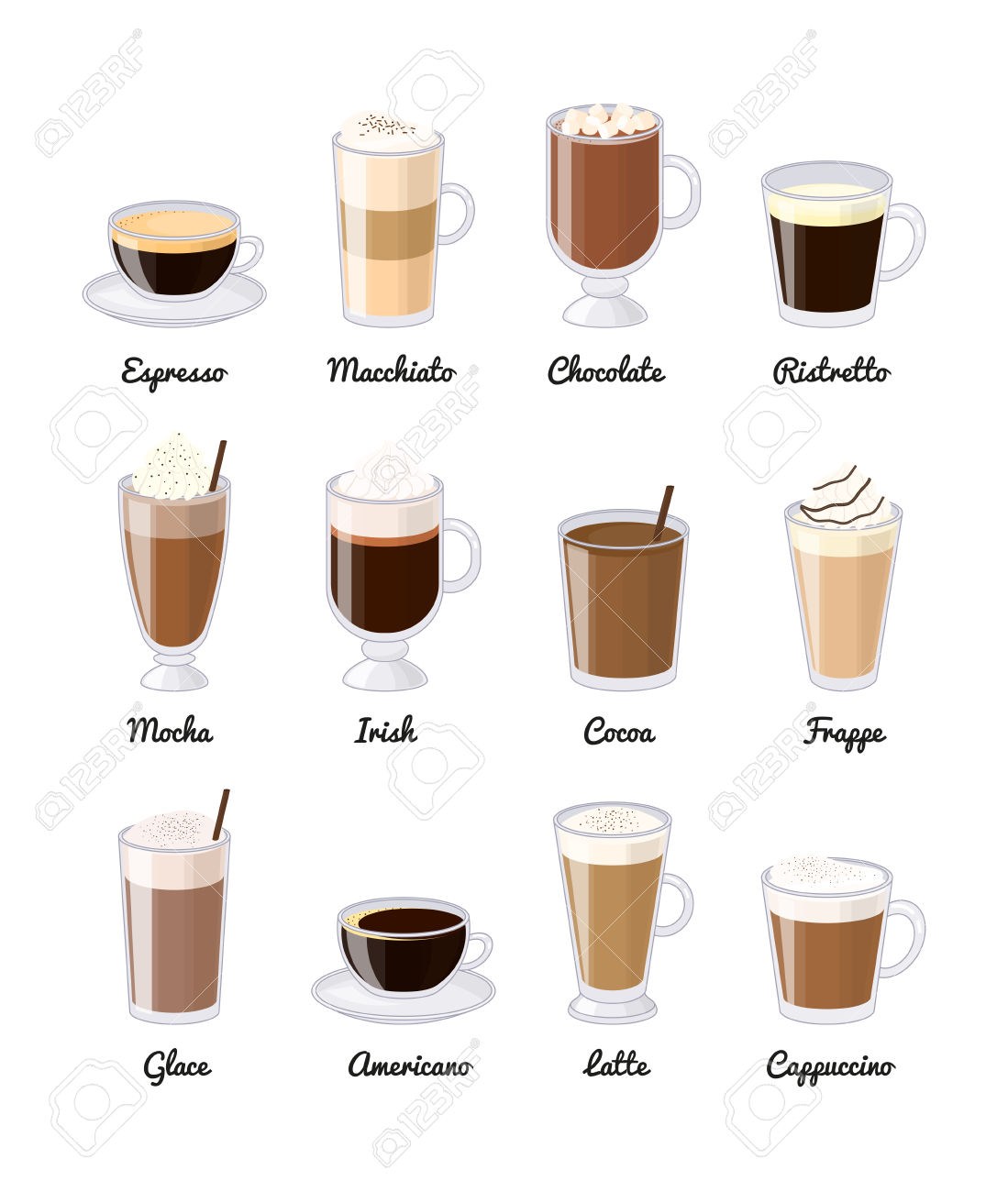 Different Coffee Drinks Isolated On White Background. Espresso.