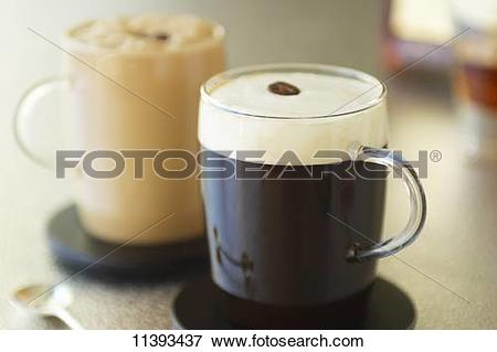 Picture of Glasses of espresso topped with milk foam 11393437.