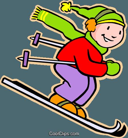 esqui menino livre de direitos Vetores Clip Art ilustração.