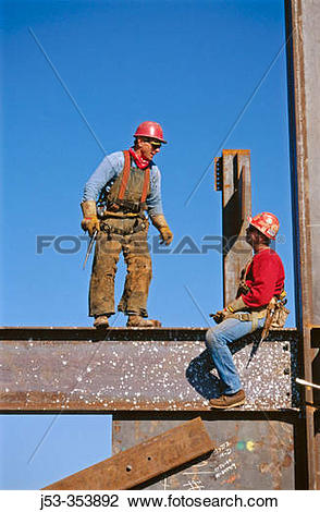 Stock Photo of Ironworkers, connectors. Esquire Plaza building.