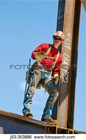 Stock Images of Ironworker, connector. Esquire Plaza Building.