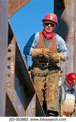 Stock Photo of Ironworker, connector. Esquire Plaza Building.