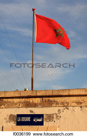 Stock Photograph of Morocco, Essaouira, flag f0036199.