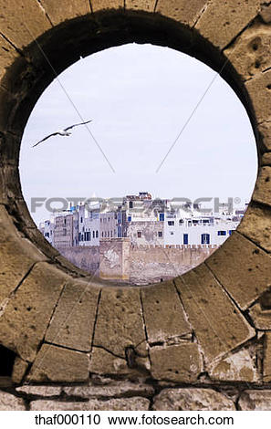Stock Photography of Morocco, Essaouira, Kasbah, cityscape behind.