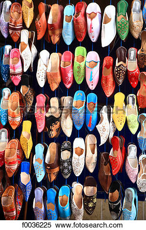 Stock Image of Morocco, Essaouira, the souk, oriental slipper.