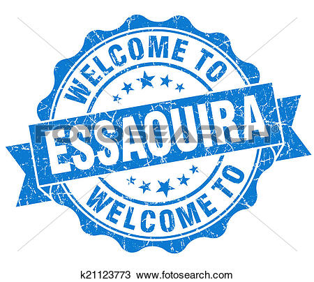 Drawing of welcome to Essaouira blue vintage isolated seal.