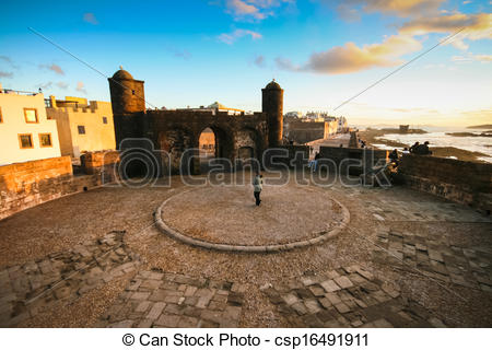 Clipart of Panoramic view of Essaouira, Morocco, north Africa.