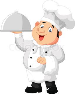 Vector illustration of Cartoon funny Chef cartoon holding platter.
