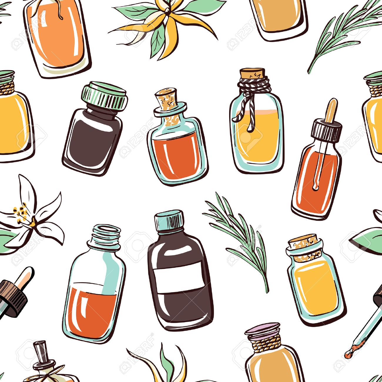 Vector seamless pattern with hand drawn essential oil bottles...