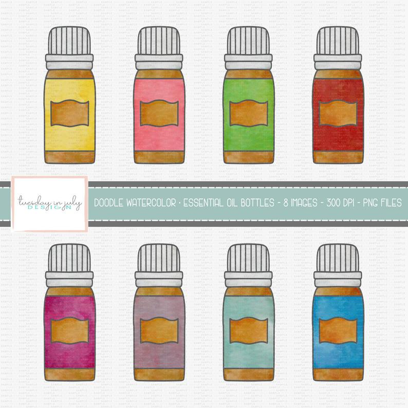 Watercolor Doodle Essential Oil Bottles Clipart Set, Essential Oil,  Commercial Use, Instant Download, Digital Clipart, Digital Images.