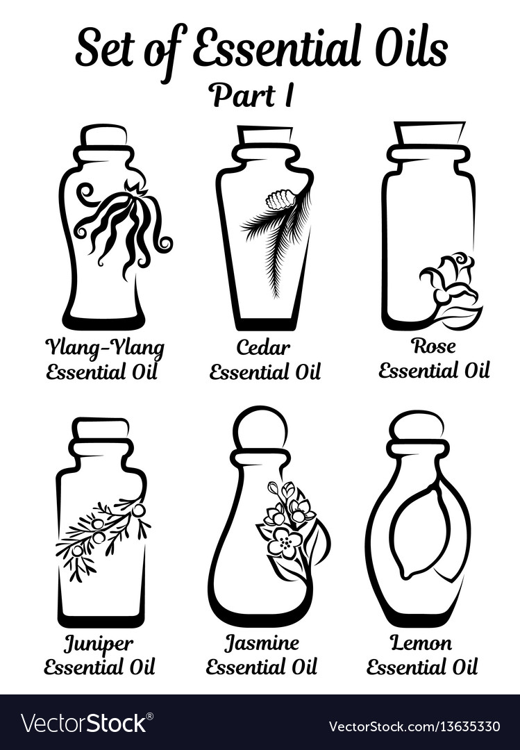 Set of stylized bottles with essential oils.