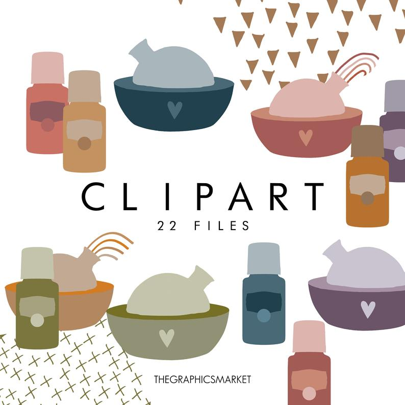 Essential Oil Clipart, Essential Oil Bottle Clipart, Essential Oil Bottles,  Diffuser Clipart, Diffuser Watercolor, Modern Oil Clipart.