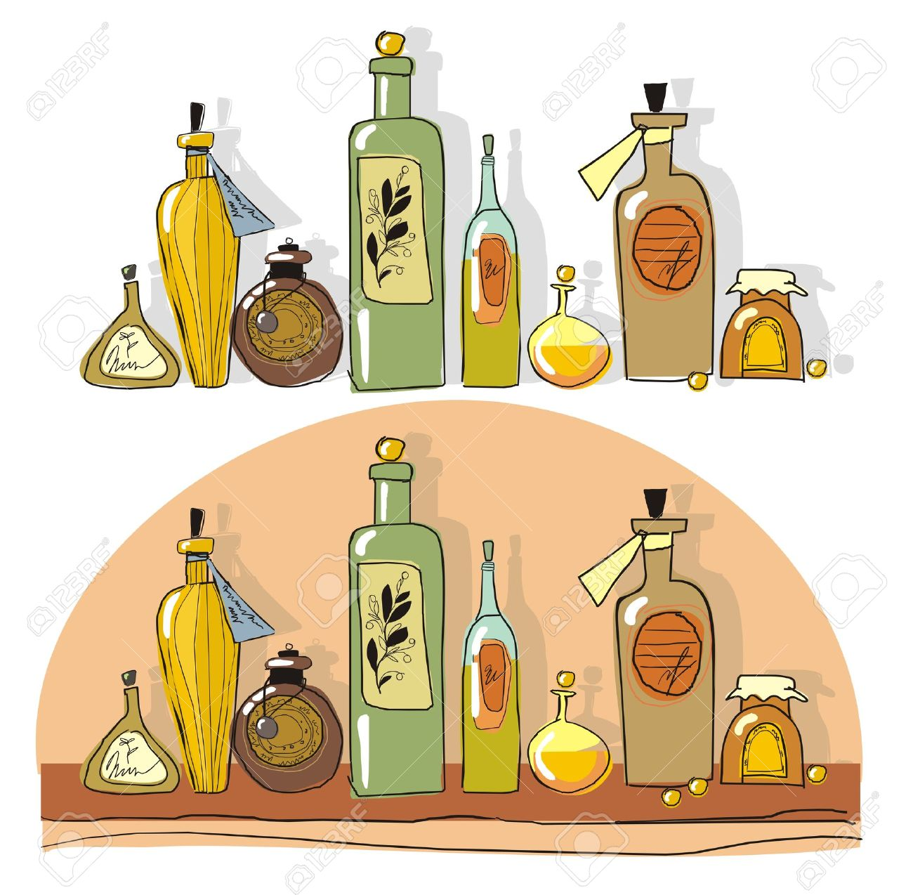 Yellow Small Bottles Of Essential Oil Royalty Free Cliparts.
