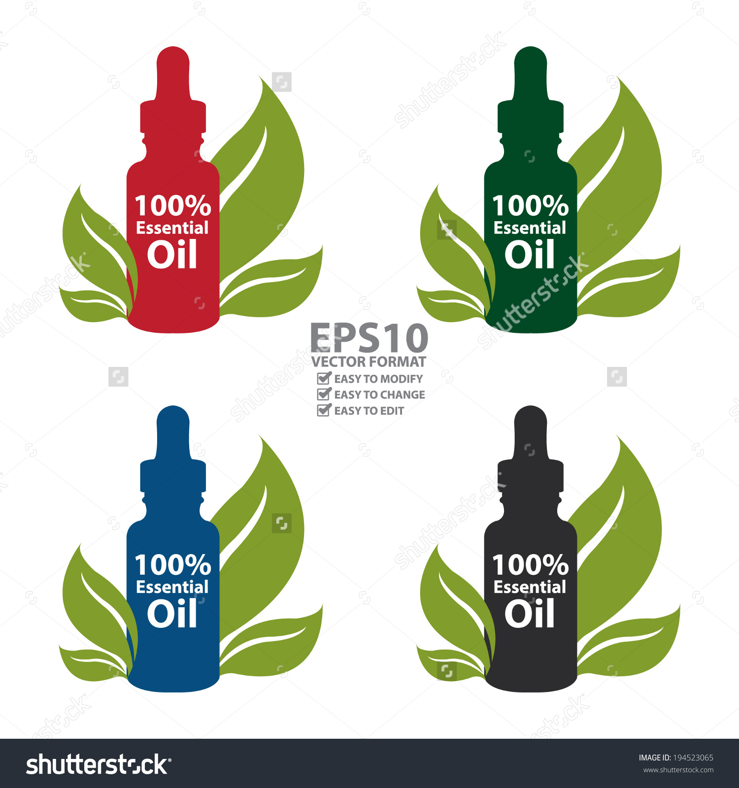 Vector Colorful 100 Percent Essential Oil Stock Vector 194523065.