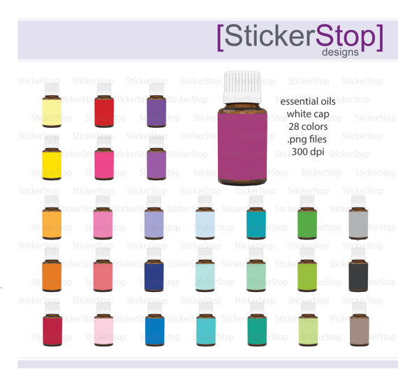 Essential Oils Clipart 28 colors, PNG Digital Clipart.