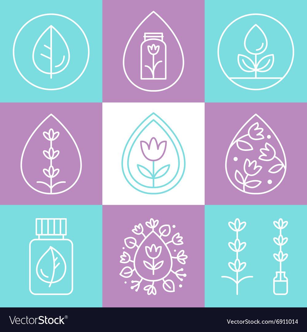 Essential Oils Outline Icons or Logos.