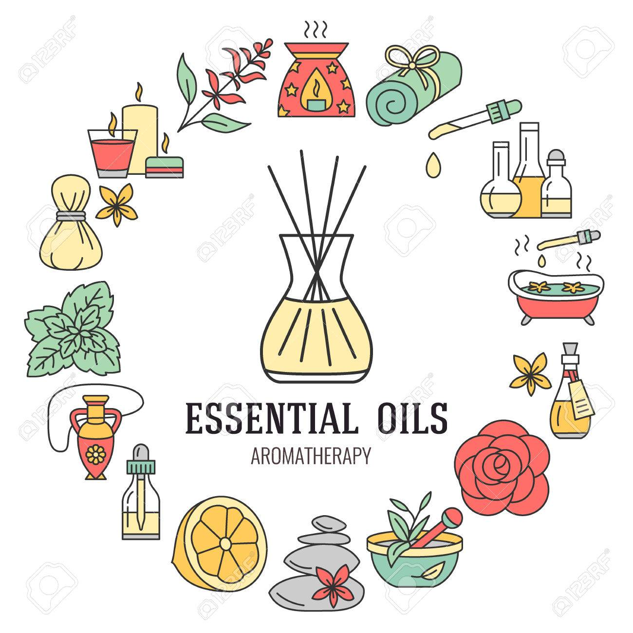 Aromatherapy and essential oils brochure template. Vector line...