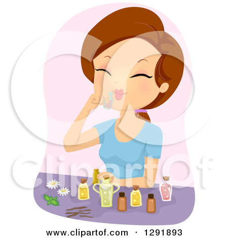 Clipart of a Mortar and Pestle with Essential Oils.