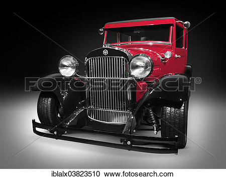 Stock Photography of 1926 Essex Super Six red vintage car hot rod.