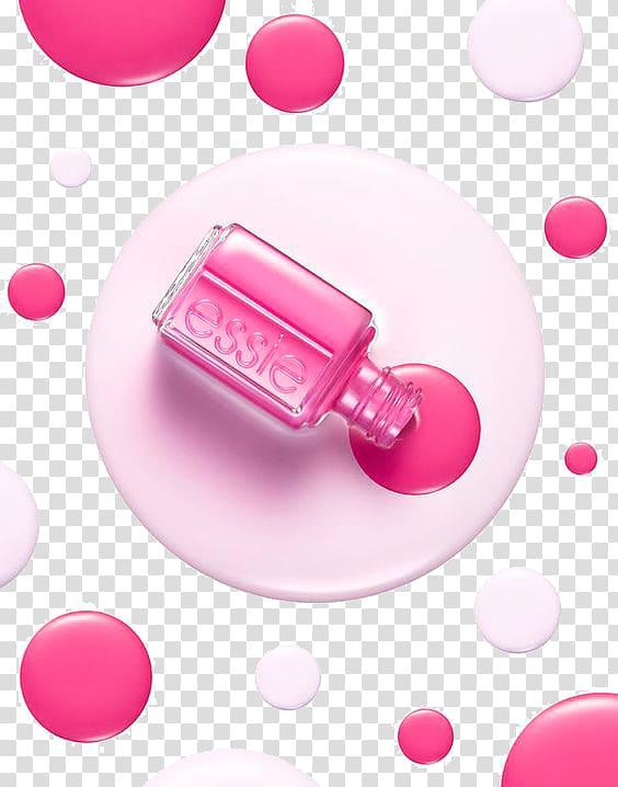 Pink Essie nail polish spilled on bottle, Nail polish.